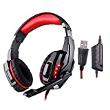 KOTION EACH G9000 USB 7.1 Surround Sound Version Game Gaming Headphone Computer Headset Earphone Headband with Microphone LED Light Red&Black