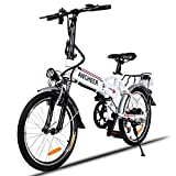 ANCHEER Folding Electric Bike with 36V 8AH Removable Lithium-Ion Battery Lightweight Electric City Bike with 250W Motor and Battery Charger (White)