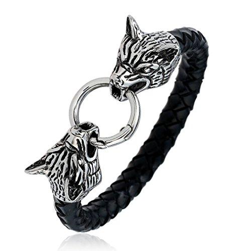 Men's Stainless Steel Ferocity Wolf Head Leather Bracelet 8.5