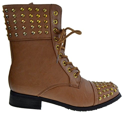 52-539 Womens Military Lace up Studded Combat Boot Cognac