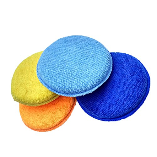 Aubess - Aplicador de cera de esponja redonda para coche, aplicació n de cera, autocuidado, ultrasuave microfibra azul azul marino 13.5X2.5cm aplicación de cera