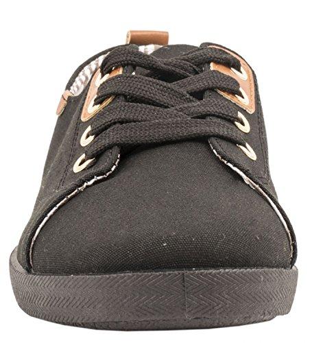 Elara Basic Sneakers | Sportlich Bequeme Turnschuhe | Low Schnürer| chunkyrayan Schwarz London