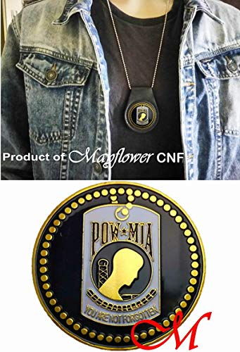 (Mayflower CNF Coin &Leather Holder - POW - MIA, May God Keep You Safe in All That You do and Bring You Back Home to Those Who Love You)
