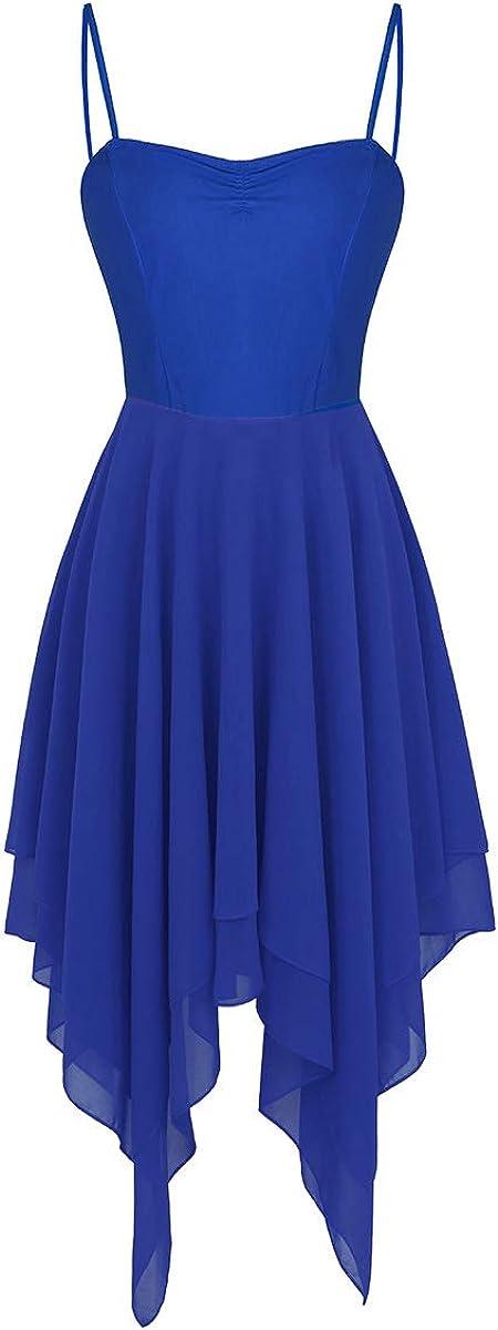 inlzdz Womens Adult Lyrical Camisole Dress Asymmetrical High-Low 2 Layers Skirts Dance Dress