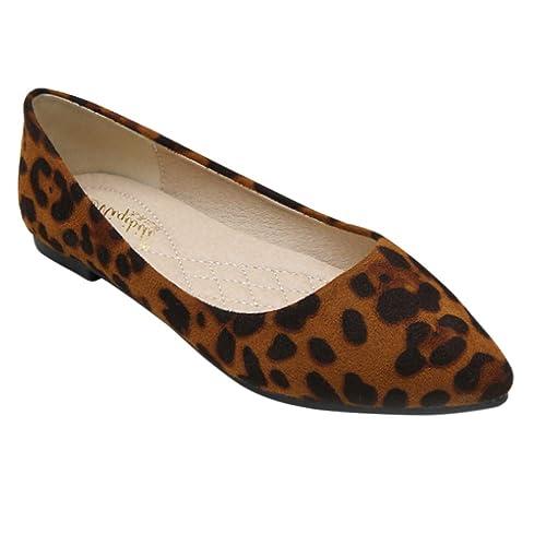 Yiliankeji Zapatos Mujer Bailarinas - Mocasines Pisos Ballet Informal Comodidad Estampado de Leopardo Slip On Bombas