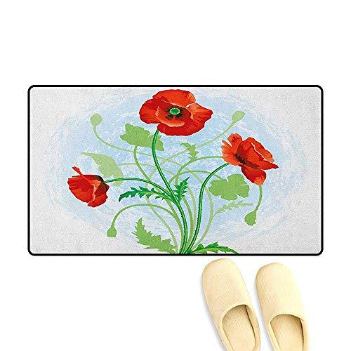 zojihouse Floral Floor Mat Pattern Poppy Flowers Bouquet Meadow Beauty Rural Petal of Fragrance Image Size:24