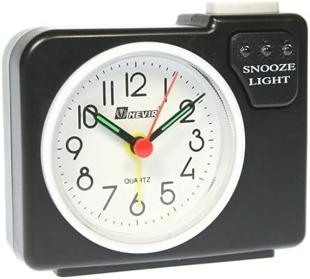 Reloj despertador NEVIR - Negro - Alarma con repetición y luz - Mod.NVR-706D