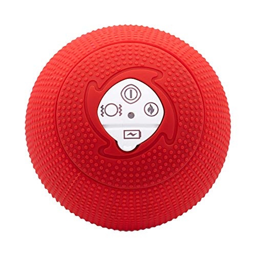 MyoStorm Heating Vibrating Massage Ball Roller for Deep Tissue Muscle Recovery Therapy and Pain Relief w/ 3 Speed Vibration + 2 Heat Settings (Red) ()