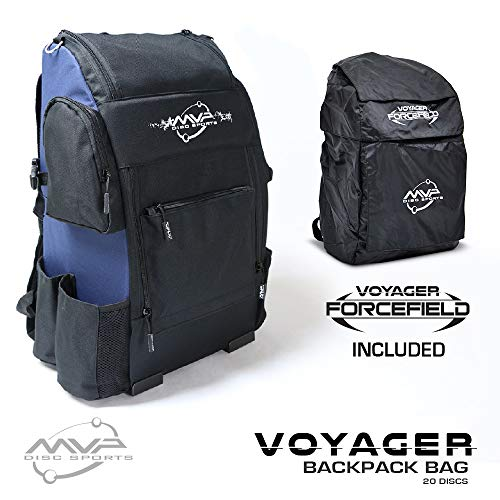 MVP Disc Sports Voyager Backpack Disc Golf Bag with Forcefield Rainfly - Navy - Frisbee Sport All