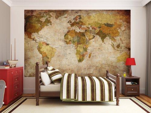 Fotomural mapamundi mapamundi retro 210cm x 140cm papel - Papel pintado mapamundi ...