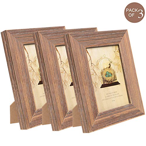 TNELTUEB 4x6 Picture Frames Solid Wood Rustic Wood Picture Frame Set with High Definition Glass for Wall Mount & Table Top Photo Display (3 Pack, Brown Wood Grain) (4x6 Table Top Picture Frames)