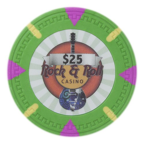 Claysmith Gaming Rock & Roll Poker Chip Heavyweight 13.5-gram Clay Composite – Pack of 50 ($25 Green) (Poker Chips Roll)