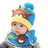 TAORE Baby Toddler Kids Boy Girl Knitted Christmas deer Soft Hat + Scarf (Light Blue)