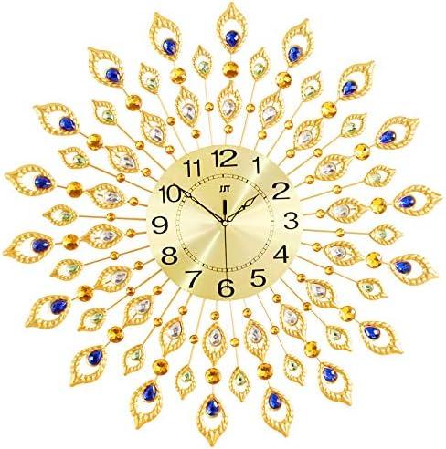KINBEDY 28 Luxury Crystal Bohemian Peacock Style Metal Rustic Wall Clock