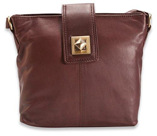 300 With Buckle Genuine 114 Design Brunhide Brown Womens Soft Handbag Leather OzqnFBx1