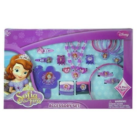 Disney Princess Sofia the First 25 Piece Kids Jewelry and Hair Accessory Gift Set