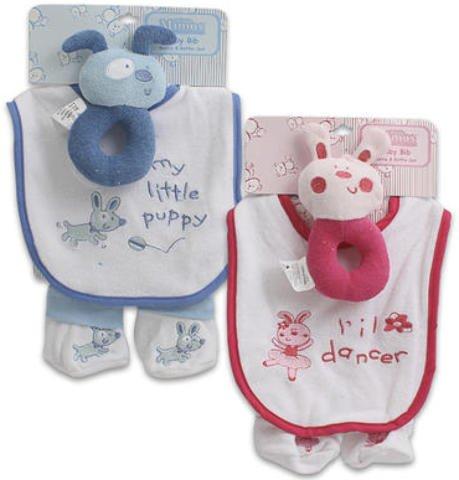3 Pc Baby Gift Set Pink Blue Bib Booties Set 36 pcs sku# 1458850MA by DDI