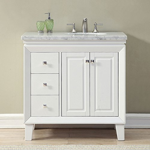 Silkroad Exclusive V0320WW36R Bathroom Vanity Carrara White Marble Top Single Sink Cabinet, 36