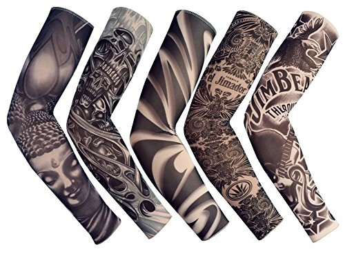 Yoogeer Temporary Fake Slip On Tattoo Arm Sleeve Cycling Basketball Sun Block Sleevelet for Men and Women (Unisex Dark Set, Pack of 5) -