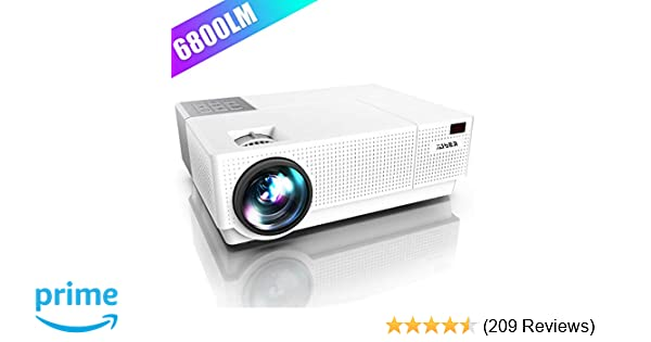 Projector, YABER Native 1920x 1080P Projector 6800 Lumens Upgrade Full HD Video Projector, ±45° 4D Keystone Correction,LCD LED Home & Outdoor ...