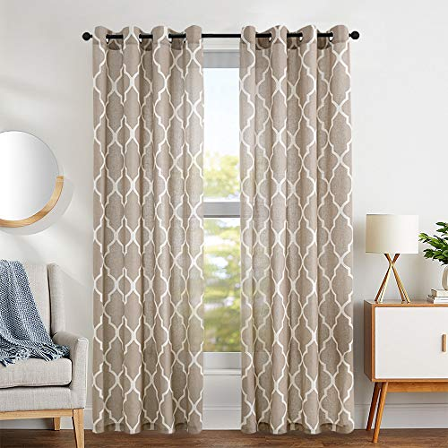 (Print Curtains 95 inch Moroccan Tile Flax Linen Look Curtain Quatrefoil Grommet Lattice Window Treatment Set for Living Room - (Taupe, Set of 2 Panels))