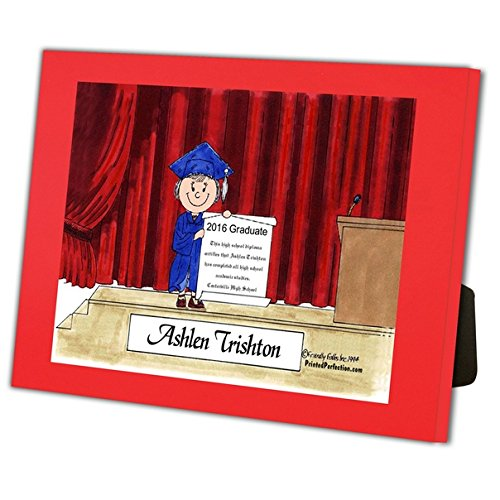 Personalized Friendly Folks Cartoon Caricature in a Color Block Frame Gift: Graduation - Female Great for high school, college, tech school graduation by Printed Perfection (Image #1)