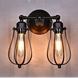 Lightess Wall Sconce Lighting Fixture Industrial Vintage Adjustable Wall Lamp Shade Mini Wire Cages 2 Lights Black