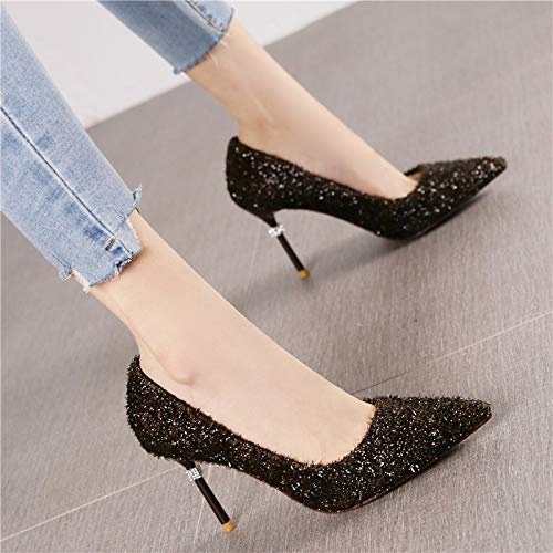 LBTSQ 8Cm Heels High Thirty Pointy Trendy Heels eight Shallow Sequins Shoes Thin rqX0rxw