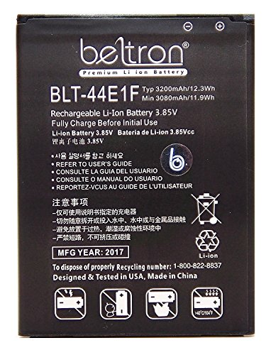 New 3200 mAh BELTRON Replacement Battery for LG V20 (AT&T H910, T-Mobile H918, Sprint LS997, US Cellular US996, Verizon VS995) BL-44E1F by BELTRON