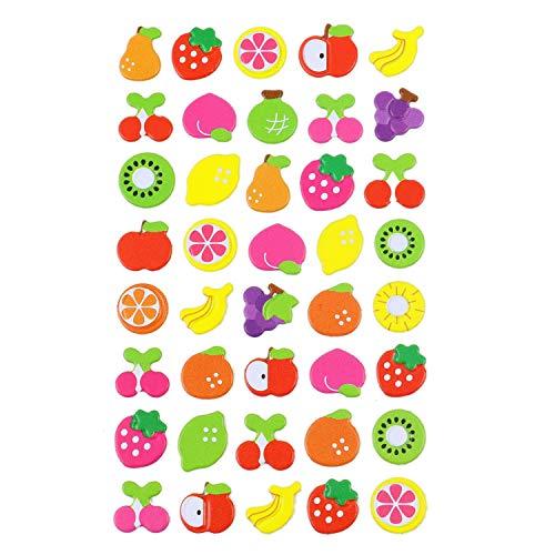(JETEHO 15 Sheets Fruit 3D Puffy DIY Decorative Adhesive Sticker Kids Craft Scrapbooking Sticker Set for Diary, Album DIY)