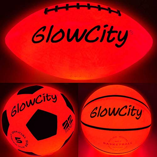 Glow-in-The-Dark Light Up LED Balls - Variety 3 Pack of Official Sized Basketball, and Football, and Size 5 Soccer Ball - Ideal for Glow Parties and Playing at Night - Bonus Spare Batteries -