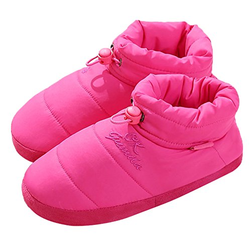 Slippers Feather Shoes Vamp Boot Women's Red Men's Indoor Bedroom Cloth Rose Winter JOINFREE waqgRff