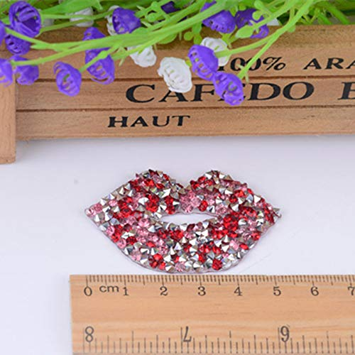 (Best Quality - Patches - 4.5cm Love Heart Star Design hotfix Rhinestone Motif Iron on Patches Applique for Heat Transfer Clothing Shoe Bag DIY - by Olwen Shop)