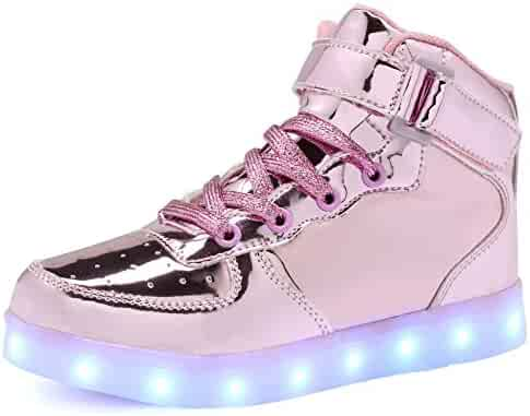 CIOR Kids Boy and Girl's High Top Led Sneakers Light Up Flashing Shoes(Toddler/Little Kid/Big Kid)