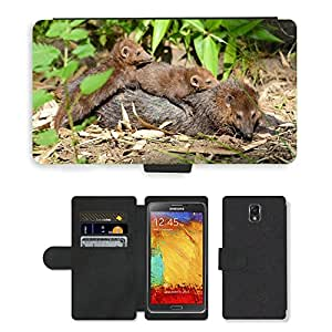 GoGoMobile PU LEATHER case coque housse smartphone Flip bag Cover protection // M00118389 Comadreja Familia Animales Fauna // Samsung Galaxy Note 3 III N9000 N9002 N9005
