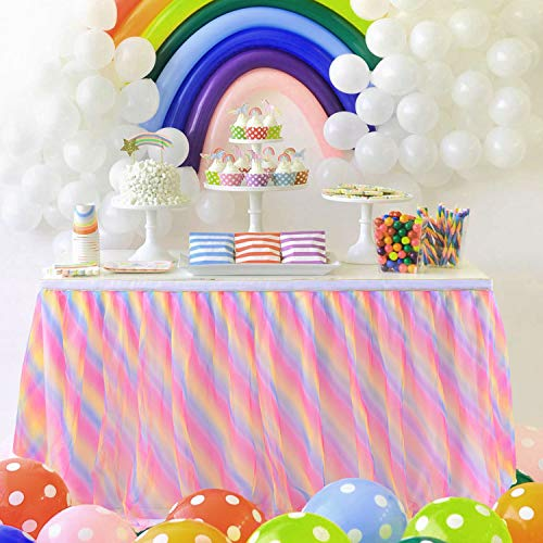 Rainbow Tulle Table Skirt Tutu Tablecloth 6ft Ruffle Table Skirting for rectangle tables Unicorn Birthday Party Baby Shower Unicorn Party Supplies (Round Rainbow Tablecloth)