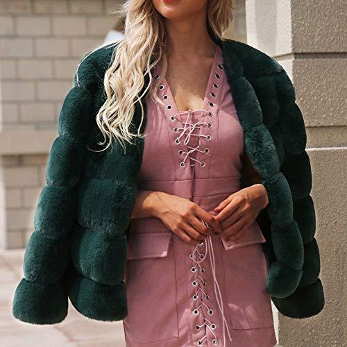 Lungo Elegante In Cappotto Mantieni Calda Sintetica Donna Trench Outwear Pelliccia Verde Jacket Cardigan Elecenty Caldo Per v1qFP