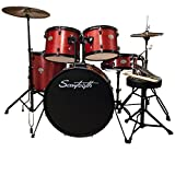 Rise by Sawtooth Full Size Student Drum Set with Hardware and Cymbals, Crimson Red Sparkle