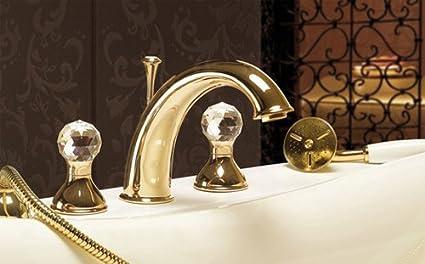 Nobile 4 foro rubinetto vasca da bagno oro 24 carati con swarovski a