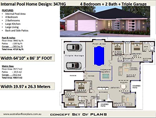 Amazoncom 4 Bedroom House Plan With Internal Pool And
