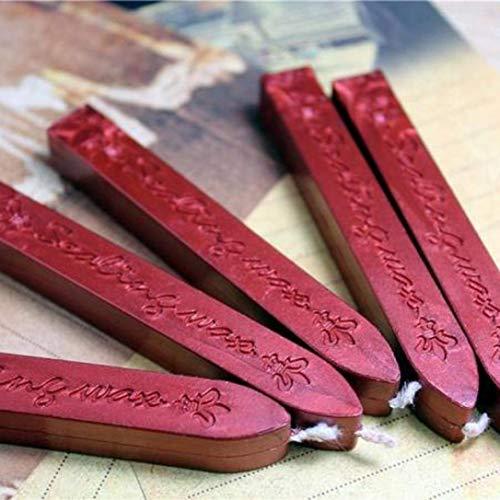 Printable Red Heart - SHJNHAN Vintage Gold Manuscript Sealing Seal Wax, 2Pcs Sticks Wicks For Postage Letter (Red)