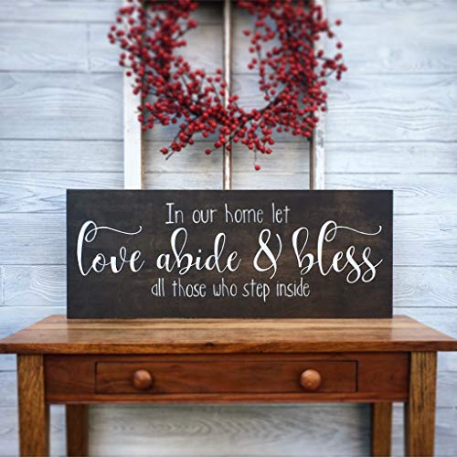 CELYCASY in Our Home let Love Abide and Bless All Those who Step Inside, Entry Wall Decor, Farmhouse Decor, Welcome, Gather, Sign with Quote, - Hardware Abi