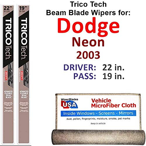 Beam Wiper Blades for 2003 Dodge Neon Driver & Passenger Trico Tech Beam Blades Wipers Set of 2 Bundled with Bonus MicroFiber Interior Car Cloth