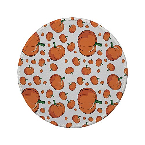 (Non-Slip Rubber Round Mouse Pad,Harvest,Halloween Inspired Pattern Vivid Cartoon Style Plump Pumpkins Vegetable Decorative,Orange Green)