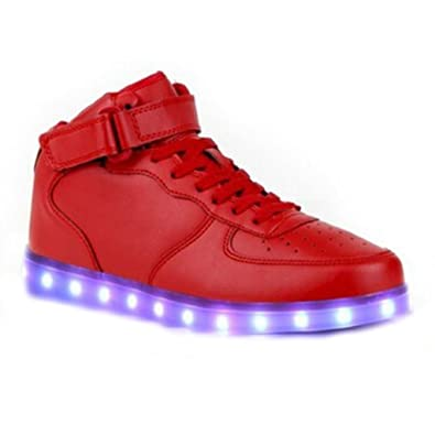 [Present:kleines Handtuch]Rot EU 43, Schuhe für Sneakers Turnschuhe Velcro JUNGLEST® Farbe USB Rollbrett Glow Party LED Leuchtend Unisex Aufladen Herren High-Top
