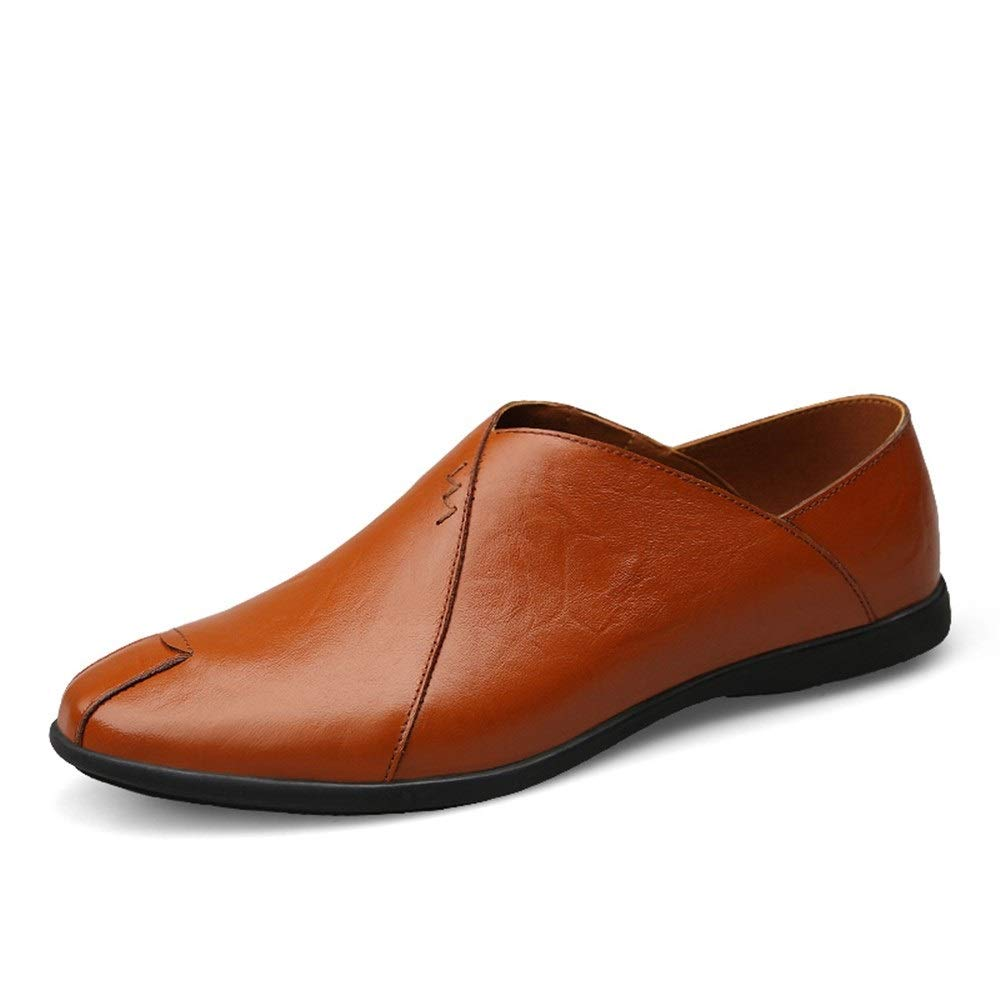 Reddish Brown SHENNANJI for Men Driving Loafer Boat Moccasins Slip On Style OX Leather Comfortable Low Top(Height Increasing Insole Optional)
