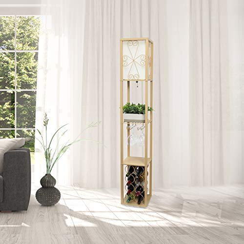 Simple Designs LF1015-TAN Etagere Organizer Storage Shelf and Wine Rack with Linen Shade Floor Lamp, ()