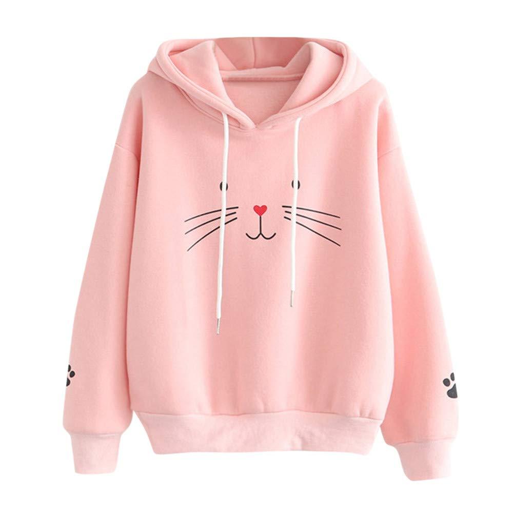 Women's Hooded Long Sleeve Sweatshirt Cute Cat Printing Jumper Hooded Casual Pullover Teen Girls Fashion Tops Blouse