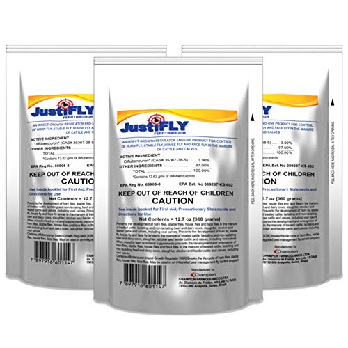JustiFLY Champion USA Feedthrough Cattle Fly Control, 6 Pack | Non-Toxic Larvicide. Controls All Four Fly Species That Affect Cattle. Over 50 Million Head Treated (Best Feed Through Fly Control For Horses)