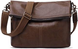 GSAYDNEE Cartera de Hombro de Cuero Genuino de la Vendimia Messenger Bag Tote Bag Maletín Satchel Bag (Color : Brown)